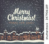 christmas card with winter old...   Shutterstock .eps vector #347906189