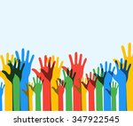 colorful up hands background.... | Shutterstock .eps vector #347922545
