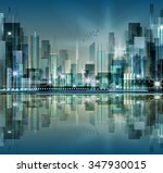 city skyline at night | Shutterstock .eps vector #347930015