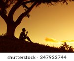 man praying  meditating in... | Shutterstock . vector #347933744