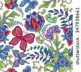 seamless hand draw butterfly... | Shutterstock .eps vector #347938661
