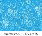 vector drawing hibiscus flowers ... | Shutterstock .eps vector #347957525