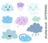 cute vector clouds icons. funny ... | Shutterstock .eps vector #347959481