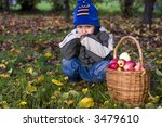 little boy posing outdoors with ... | Shutterstock . vector #3479610
