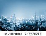 night shanghai skyline with... | Shutterstock . vector #347975057