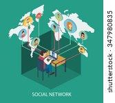 social network and teamwork on... | Shutterstock .eps vector #347980835