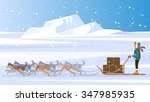 musher and dog sled team.... | Shutterstock .eps vector #347985935