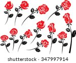 vector rose set | Shutterstock .eps vector #347997914