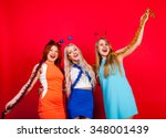 young nice girls have fun on a... | Shutterstock . vector #348001439