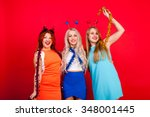 young nice girls have fun on a... | Shutterstock . vector #348001445
