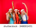 young nice girls have fun on a... | Shutterstock . vector #348001451