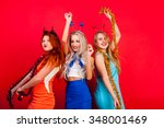young nice girls have fun on a... | Shutterstock . vector #348001469