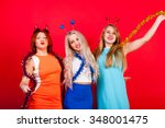 young nice girls have fun on a... | Shutterstock . vector #348001475