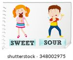 opposite adjectives sweet and... | Shutterstock .eps vector #348002975