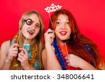 young nice girls have fun on a... | Shutterstock . vector #348006641