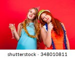 young nice girls have fun on a... | Shutterstock . vector #348010811