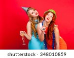 young nice girls have fun on a... | Shutterstock . vector #348010859