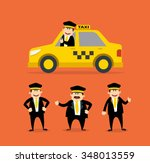 cartoon taxi driver set. yellow ... | Shutterstock .eps vector #348013559