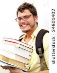 a geeky kid going to school | Shutterstock . vector #34801402