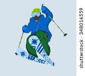 male freeride skier. vector... | Shutterstock .eps vector #348016559