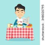 man eating breakfast. vector... | Shutterstock .eps vector #348020795