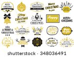 christmas and new year labels... | Shutterstock .eps vector #348036491