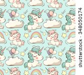 vector pattern with cute... | Shutterstock .eps vector #348050174