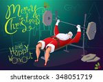 santa claus workout in gym.... | Shutterstock .eps vector #348051719