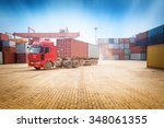 stack of cargo containers at... | Shutterstock . vector #348061355