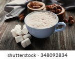 cup of hot cacao with... | Shutterstock . vector #348092834