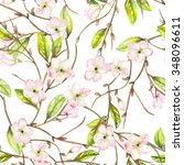 a seamless floral pattern with... | Shutterstock . vector #348096611