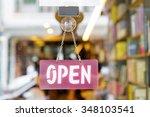 open sign on the door of... | Shutterstock . vector #348103541