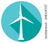 wind turbine flat button icon    Shutterstock .eps vector #348114737