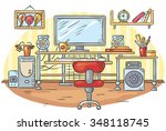 workplace with a computer table ... | Shutterstock .eps vector #348118745