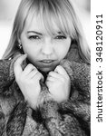 beautiful winter portrait of...   Shutterstock . vector #348120911