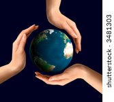 Conceptual recycling symbol made from hands over Earth globe Environment and ecology concept - stock photo