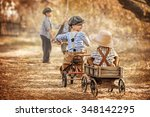 children playing on the... | Shutterstock . vector #348142295