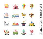 flat color amusement park icons ... | Shutterstock .eps vector #348143591
