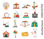 Amusement Park Flat Icons Set...