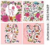 vector set of love cards ... | Shutterstock .eps vector #348144689