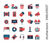 flat color set of movie icons... | Shutterstock .eps vector #348145037