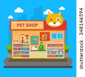 Stock vector pet shop concept with animal accessories store indoors flat vector illustration 348146594