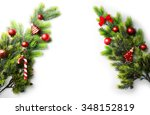 christmas tree branch with red... | Shutterstock . vector #348152819