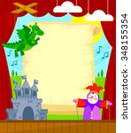 puppet theater with blank... | Shutterstock .eps vector #348155354