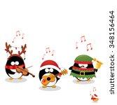 penguins playing christmas music | Shutterstock .eps vector #348156464
