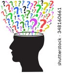 human head opened with question ... | Shutterstock .eps vector #348160661