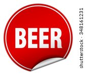 beer round red sticker isolated ... | Shutterstock .eps vector #348161231