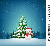 the christmas tree and snowman... | Shutterstock . vector #348167165