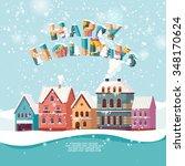 christmas landscape. happy... | Shutterstock .eps vector #348170624