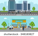 people go to work horizontal... | Shutterstock .eps vector #348183827
